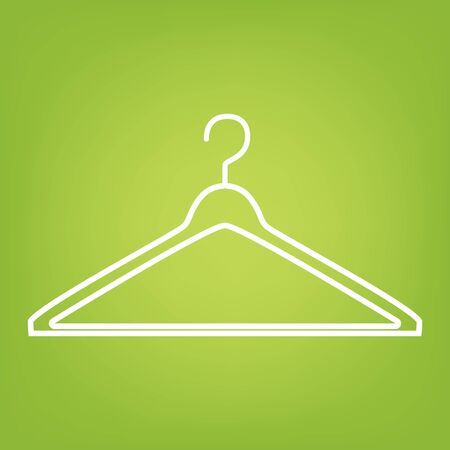 Hanger line icon on green background. Vector illustration Ilustracja