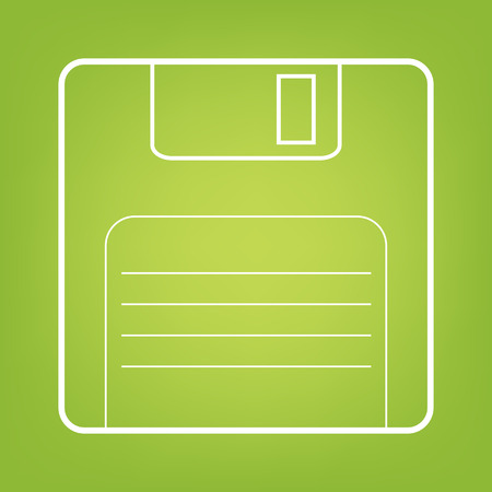 old pc: Floppy disk line icon on green background. Vector illustration