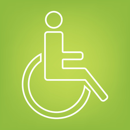 medicine wheel: Disabled line icon on green background. Vector illustration