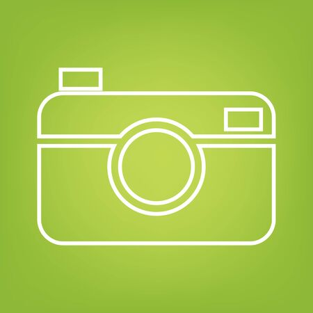 digital camera: Digital photo camera line icon on green background. Vector illustration