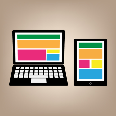 desktop computers: Fully responsive devices web design. vector illustration