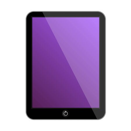 touch sensitive: Vector computer tablet with perple icon. Vector illustration Illustration