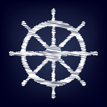ship wheel: Ship wheel. Vector illustration with chalk effect