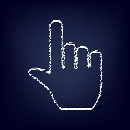 hit tech: Hand icon with chalk effect. Vector illustration