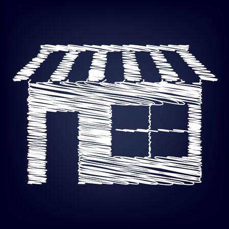 urbanization: Shop icon over white background, vector illustration with chalk effect Illustration