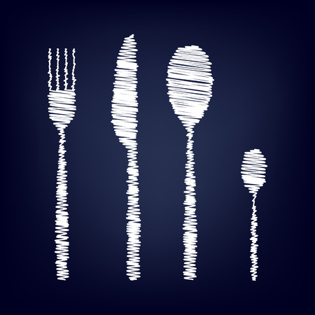 fork and spoon: fork spoon knife with chalk effect. Vector illustration