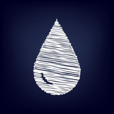 energy crisis: Drop of water - Vector icon with chalk effect