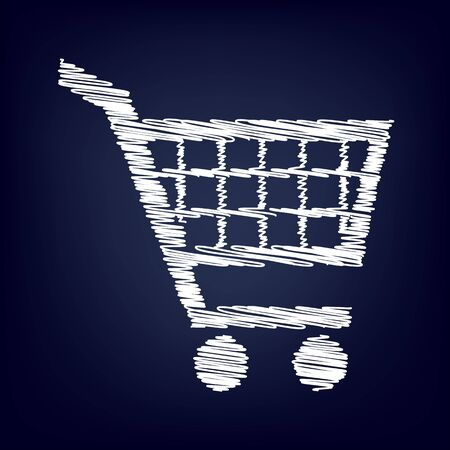 shoppingcart: Shopping cart icon for online purchases- vector  with chalk effect Illustration