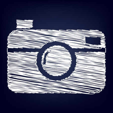 whim: digital photo camera icon with chalk effect Illustration