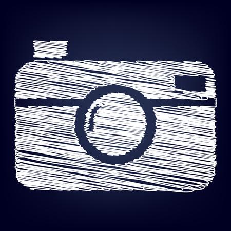 digital photo camera icon with chalk effect Illustration