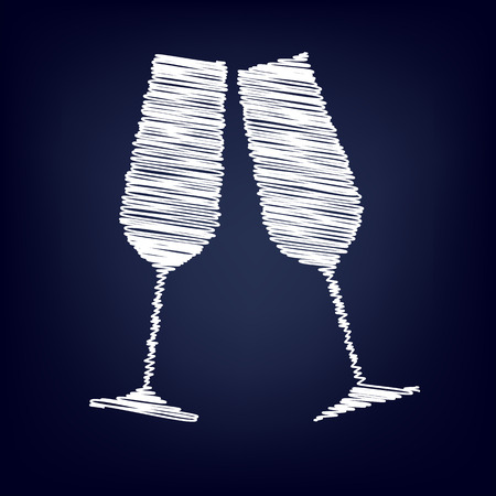 black and white image drawing: Conceptual vector illustration of sparkling champagne glasses with chalk effect