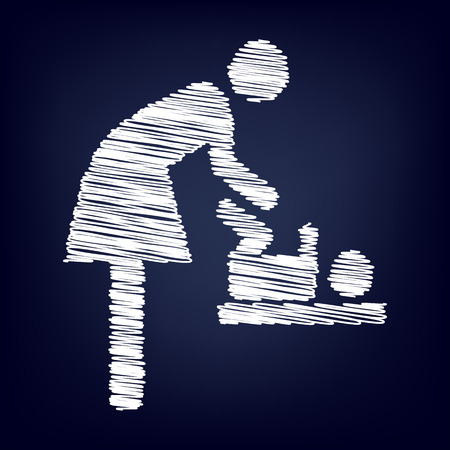 loo: symbol for women and baby , baby changing, vector with chalk effect
