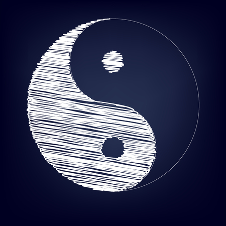 taoism: Ying yang symbol of harmony and balance with chalk effect