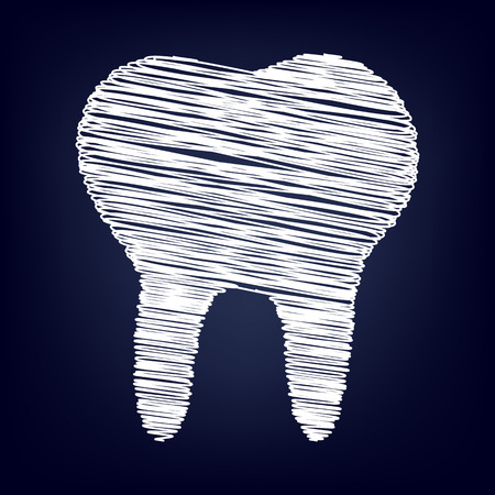 toothcare: Tooth Icon with chalk effect. Vector illustration