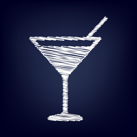 coctail: Coctail icon  with chalk effect. Vector illustration