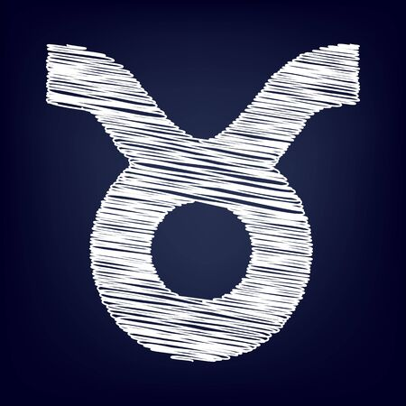 ecliptic: Zodiac sign Taurus with chalk effect. Vector illustration Illustration