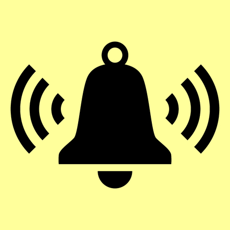 door bell: Ringing bell icon. Flat style icon vector illustration.