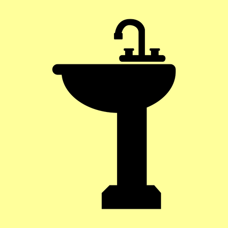 necessity: Bathroom sink sign. Flat style icon vector illustration.