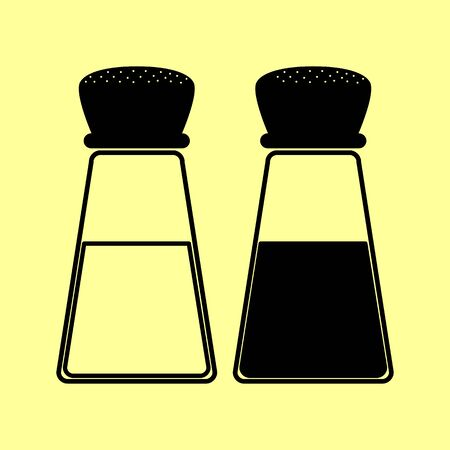 pepper grinder: Salt and pepper sign. Flat style icon vector illustration.