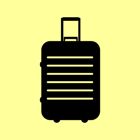 trolley case: Baggage sign. Flat style icon vector illustration.