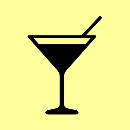 coctail: Coctail sign. Flat style icon vector illustration.