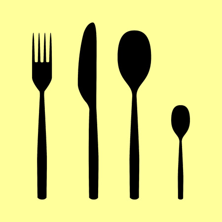 fork and spoon: Fork spoon and knife sign. Flat style icon vector illustration.