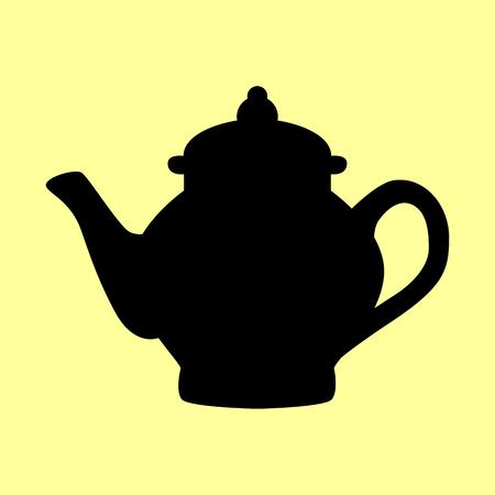 electric tea kettle: Tea maker sign. Flat style icon vector illustration. Illustration