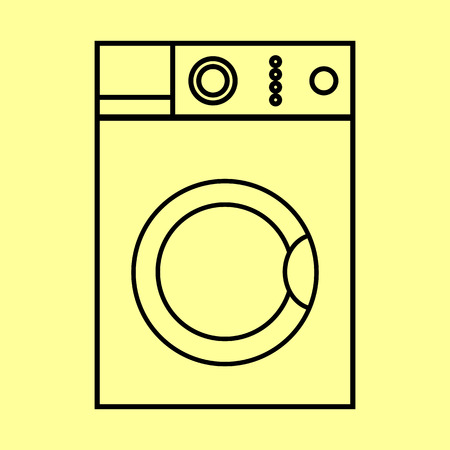 major household appliance: Washing machine sign. Flat style icon vector illustration. Illustration