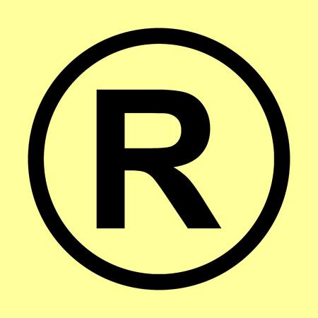 dispensation: Registered Trademark sign. Flat style icon vector illustration. Illustration