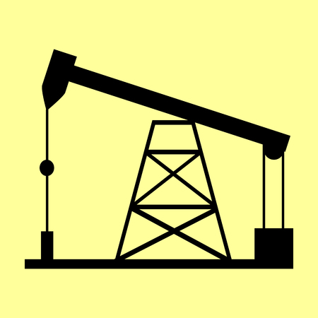 drilling rig: Oil drilling rig sign. Flat style icon vector illustration. Illustration