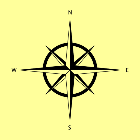 rosa vientos: El viento se levantó signo. Icono de la ilustración vectorial de estilo plano.