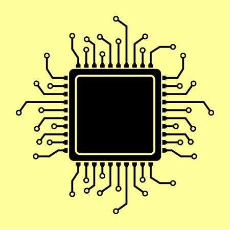 CPU Microprocesso. Flat style icon vector illustration.