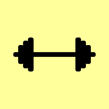 heavy load: Dumbbell weights sign. Flat style icon vector illustration. Illustration