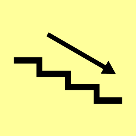 ladder safety: Stair down with arrow. Flat style icon vector illustration.