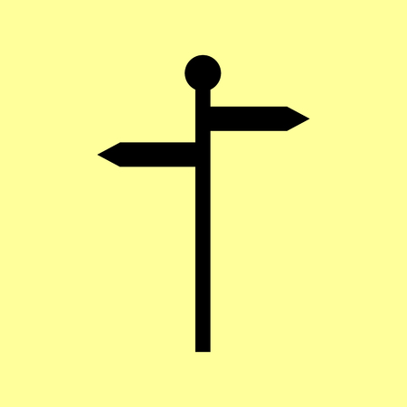 guidepost: Direction road sign. Flat style icon vector illustration. Illustration