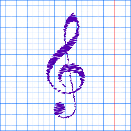 festival scales: violin clef with pen effect. Music VECTOR