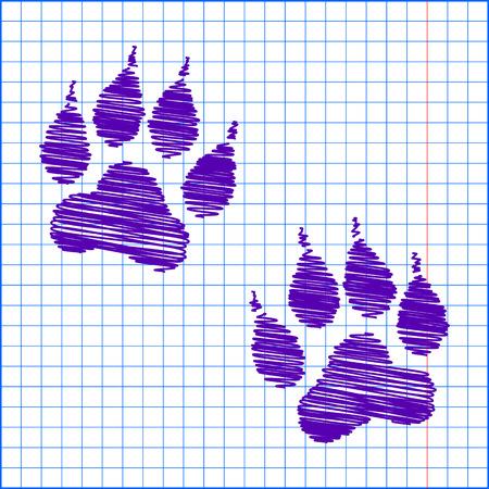 huellas de animales: Huellas de animales. Ilustraci�n del vector con efecto de la pluma