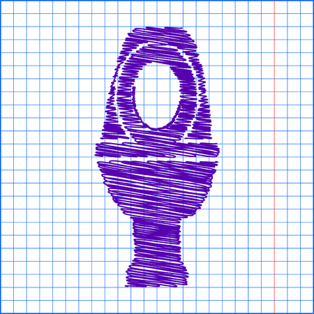 flush toilet: Toilet Icon with pen and school paper effect