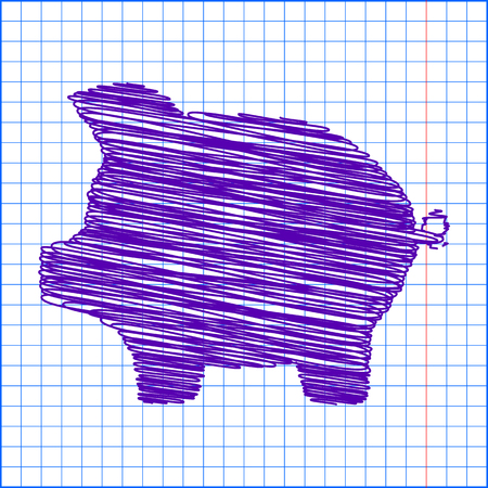 moneyed: pig money bank icon vector piggy money bank icon  with pen effect