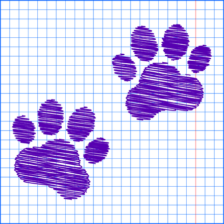animal finger: Animal Tracks. Vector illustration with pen and school paper effect Illustration
