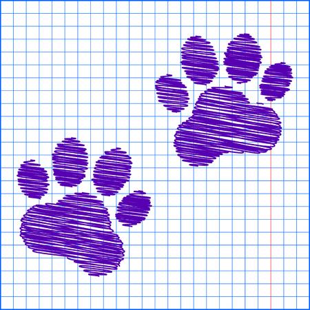 animal tracks: Huellas de animales. Ilustración del vector con efecto de la pluma y el papel de la escuela