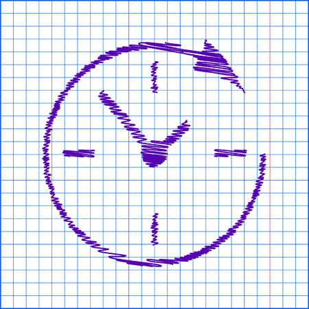 around the clock: Service and support for customers around the clock and 24 hours  with pen and school paper effect Illustration