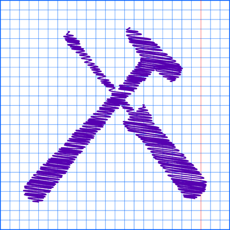Tool icon with pen and school paper effect