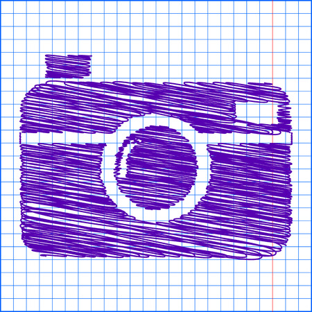 whim of fashion: digital photo camera icon with pen and school paper effect