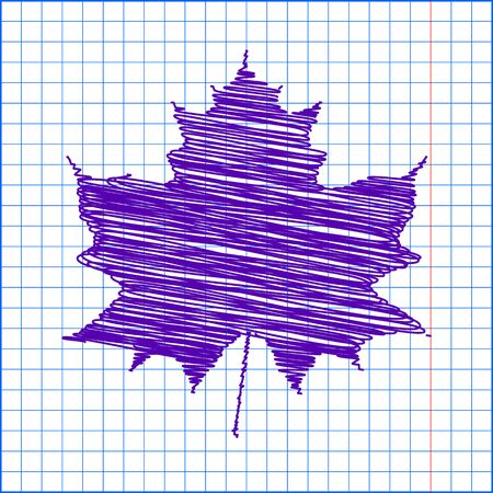 fall leaves on white: Maple leaf with pen and school paper effect