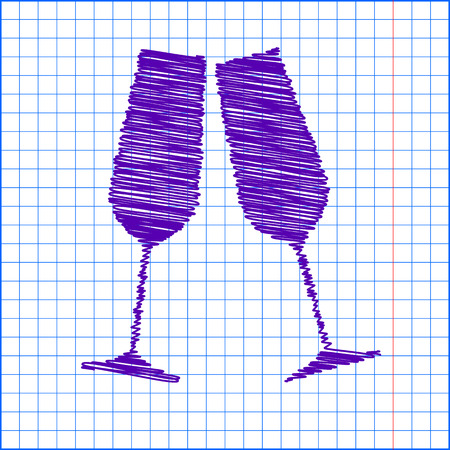 sparkling: Conceptual vector illustration of sparkling champagne glasses with chalk effect