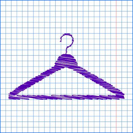 paper hanger: Hanger - Vector icon with pen and school paper effect
