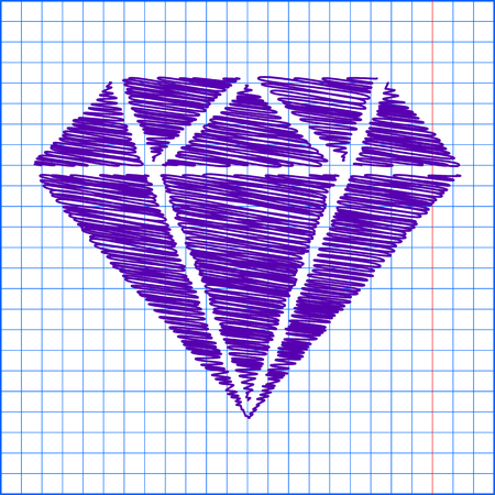 karat: Diamond icon - Vector illustration with pen and school paper effect Illustration