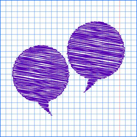 bubble pen: Speech bubble with pen and school paper effect