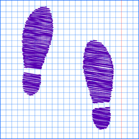 imprint: Imprint soles shoes icon with pen and school paper effect